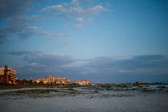 Lido Beach at dusk. The view of the building at Lido Beach at night Stock Photography