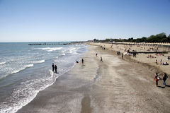 Lido beach to the south. Lido beach to the north, island in front off venice, italy Stock Photo