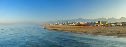 Lido di camaiore coast view. On the sunrise stock photo