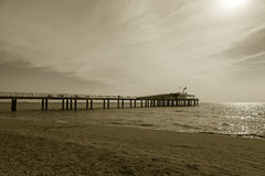 Lido di camaiore pier. On the beach royalty free stock images