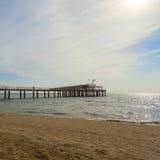 Lido di camaiore pier. On the beach royalty free stock photography