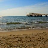 Lido di camaiore pier. On the beach stock photography