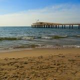 Lido di camaiore pier. On the beach stock image