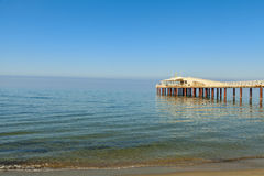 Lido di camaiore pier view. On the sunrise royalty free stock image