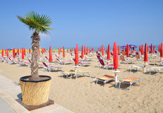 Lido di Jesolo,adriatic Sea,Italy. Beach of Lido di Jesolo at adriatic Sea in Veneto,venetian Riviera,mediterranean Sea,Italy Stock Photos