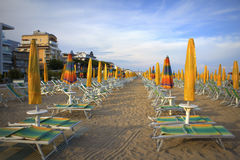 Lido Di Jesolo beach. Morning view of Lido Di Jesolo empty beach,Adriatic coast,Italy Stock Photos