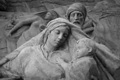 Lido di Jesolo, Italia: Natività 2016 della sabbia: scultures meravigliosi della sabbia che descrivono la famiglia sacra e l'esod Fotografie Stock Libere da Diritti