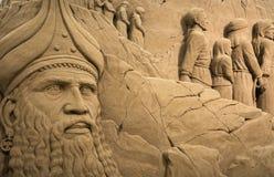 Lido di Jesolo, Italia: Natività 2016 della sabbia: scultures meravigliosi della sabbia che descrivono la famiglia sacra e l'esod Fotografie Stock