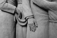 Lido di Jesolo, Italia: Natività 2016 della sabbia: scultures meravigliosi della sabbia che descrivono la famiglia sacra e l'esod Fotografia Stock