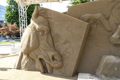 LIDO DI JESOLO, ITALY - May 24, 2019 : Sand Sculptures Festival in Lido di Jesolo at adriatic Sea in a beautiful summer day, Italy. On  May 24, 2019 royalty free stock photo