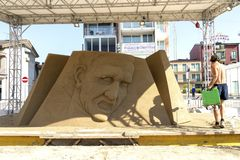 LIDO DI JESOLO, ITALY - May 24, 2019 : Sand Sculptures Festival in Lido di Jesolo at adriatic Sea in a beautiful summer day, Italy. On  May 24, 2019 stock photo