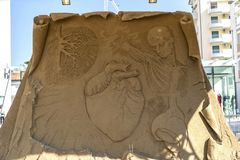 LIDO DI JESOLO, ITALY - May 24, 2019 : Sand Sculptures Festival in Lido di Jesolo at adriatic Sea in a beautiful summer day, Italy. On  May 24, 2019 stock images