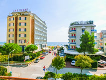 Lido di Jesolo, Italy - September 18, 2014: Sunny view at one of the street stock photos