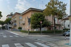 Lido di Jesolo street to sea beach, Adriatic sea, venetian Riviera Royalty Free Stock Images