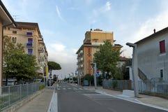 Lido di Jesolo street to sea beach, Adriatic sea, venetian Riviera Royalty Free Stock Photography