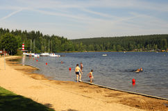 Lido at a lake. Lido at a forest lake Royalty Free Stock Photography