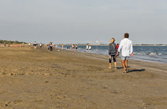 Lido long sandy beach, Italy Royalty Free Stock Images