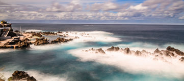 Porto Moniz Lido,. The lido and outlying rocks on Madeira in the atlantic ocean Royalty Free Stock Photo