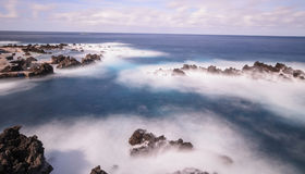 Porto Moniz Lido,. The lido and outlying rocks on Madeira in the atlantic ocean Royalty Free Stock Images