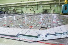 Reactor room. Nuclear reactor lid, equipment maintenance and replacement of the reactor fuel elements. Lids of fuel assemblies of nuclear reactor at the Kursk Stock Photo