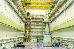 Reactor room. Nuclear reactor lid, equipment maintenance and replacement of the reactor fuel elements. Lids of fuel assemblies of nuclear reactor at the Kursk Royalty Free Stock Photos