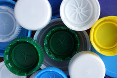 Lids from plastic bottles. Royalty Free Stock Photos