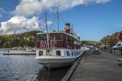 Lidstaten Henrik Ibsen bij de haven van Halden wordt gedokt die Royalty-vrije Stock Foto