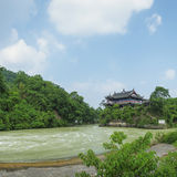 Lidui architecture scenery at dujiangyan  Royalty Free Stock Photography