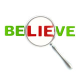 Lie as a part of the word believe Stock Images