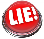Lie Detector Flashing Red Light Alarm Polygraph Lying. The word Lie on a red light or button to indicate someone is lying or being dishonest, much like a Stock Photography