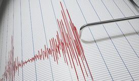 Lie detector or seismograph for earthquake detection. 3D rendered illustration.  Royalty Free Stock Images
