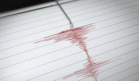 Lie detector or seismograph for earthquake detection is drawing chart. 3D rendered illustration Royalty Free Stock Images