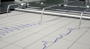 Lie Detector Test. A closeup of lie detector machine needles drawing blue lines on graph paper depicting an interrogation - 3D render Stock Photo