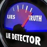 Lie Detector Truth Honesty Vs Dishonesty Lying Polygraph Test. Lie detector or polygraph machine measuring truth vs lies in your answers to questions, a measure Stock Images