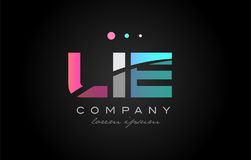 LIE l i e three letter logo icon design Stock Photos