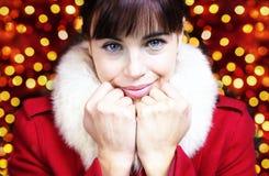 Lieb Frauenporträt für Weihnachten Stockfotos
