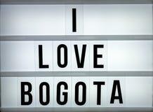 Liebe Bogota des Leuchtkastens I Stockbilder