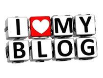 Liebe 3D I mein Blog-Knopf klicken hier Block-Text Stockfotos