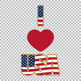 Liebe der Aufschrift I die USA auf einer Plaidhintergrundillustration Stockbilder