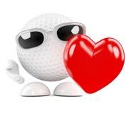 Liebe des Golfballs 3d Stockfoto