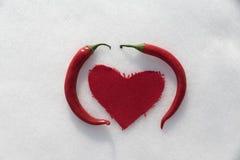 Liebe des scharfen Paprikas im Schnee Lizenzfreies Stockbild