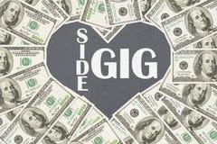 Liebe, die Geld mit Ihrem Seitenkonzert verdient lizenzfreies stockfoto