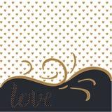 Liebe Eleganter Hintergrund mit goldenen Liebesherzen und -beschriftung stock abbildung