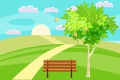Liebe Führung der Frühlingslandschaftshügel in den Abstand über dem Horizont hinaus Bank in im Freien Singende Vögel Blauer Himme lizenzfreie abbildung