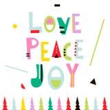 Liebe, Frieden, Freude Weihnachtsgrußhintergrund Feiertagswinterschablone, Karte, Fahne, Plakat Auch im corel abgehobenen Betrag Lizenzfreies Stockbild
