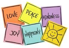 Liebe, Frieden, Güte, Freude und Harmonie lizenzfreies stockbild