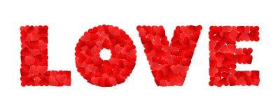 Liebe gemacht von vielen roten Herzen auf einem Weiß Stockfotografie