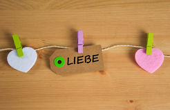Liebe - the german word for love Stock Image