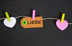 Liebe - the german word for love Stock Photos