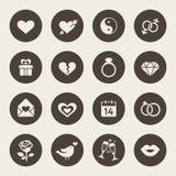 Liebe, Heirat, Verpflichtung und Valentins-Tagesikonensatz Stockfoto